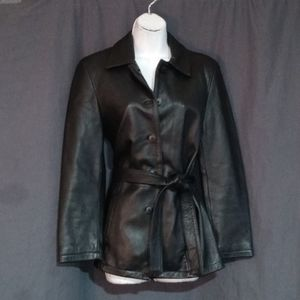 PETITE SOPHISTICATES 8P LEATHER BELTED COAT